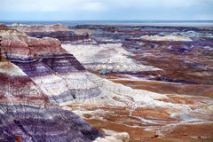 Stunning striped purple sandstone formations of Blue Mesa badlands in Petrified Forest National Park Royalty Free Stock Images