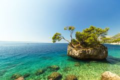 Stunning summer landscape with famous rocky island, Brela, Croatia Royalty Free Stock Images