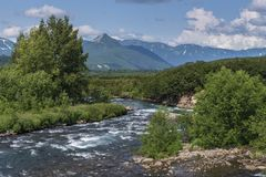 Stunning summer panorama landscape of mountain river in Kamchatka stock photos