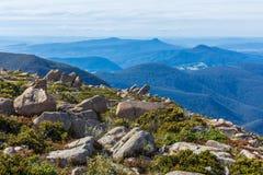 Stunning summit of Mount Wellington overlooking hills around Hobart Stock Photo