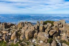 Stunning summit of Mount Wellington overlooking Hobart Stock Photos