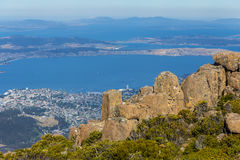 Stunning summit of Mount Wellington overlooking Hobart and the Derwent river Stock Photos