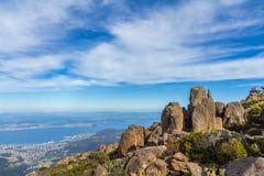 Stunning summit of Mount Wellington overlooking Hobart and the south coast Stock Photo