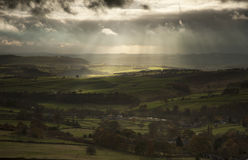 Stunning sun beams over Big Moor in Peak District National Park Stock Photo