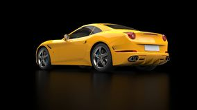 Stunning sun yellow sports car - side view. Isolated on black reflective background Stock Photos