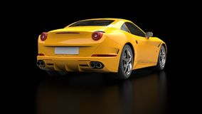 Stunning sun yellow sports car - tail view. Isolated on black reflective background Royalty Free Stock Photography