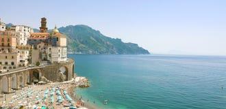 Stunning sunny view of Atrani village overhanging the sea, Amalfi Coast, Italy. Banner panorama. Copy space. royalty free stock photos