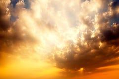 Stunning sunrise with fantastic sunbeam Royalty Free Stock Image