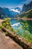 Stunning sunrise at Gosausee lake in Gosau, Alps Stock Images