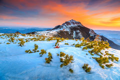Stunning sunrise in the high mountains,Ceahlau,Carpathians,Transylvania,Romania Stock Photography