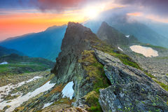 Stunning sunrise in the high mountains,Fagaras,Carpathians,Transylvania,Romania Stock Photos