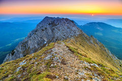 Stunning sunrise in the high mountains,Piatra Craiului,Carpathians,Romania Royalty Free Stock Photography