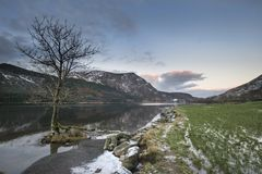 Stunning sunrise landscape image in Winter of Llyn Cwellyn in Sn Stock Images