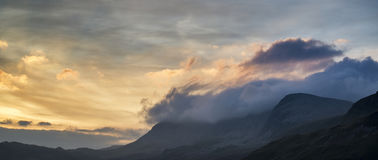 Stunning sunrise mountain landscape with vibrant colors and beau Royalty Free Stock Photography