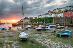 Stunning Sunrise over Brixham. Sunrise over boats in the harbour at Brixham on the south coast of Devon Stock Images