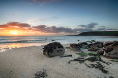 Stunning Sunrise over the Cornish Coastline Stock Images
