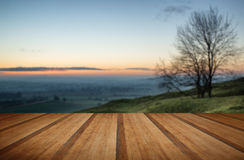 Stunning sunrise over fog layers in countryside landscape with w Stock Photo