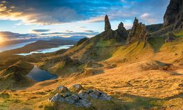 Stunning sunrise over the Old Man of Storr royalty free stock images