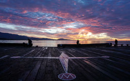 Stunning Sunrise  over stearns Wharf Compass Stock Photography