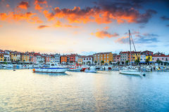 Stunning sunrise with Rovinj old town,Istria region,Croatia,Europe Royalty Free Stock Image