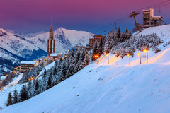Stunning sunrise and ski resort in the French Alps,Europe Royalty Free Stock Photos