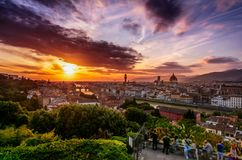 Sunset over Florence, Italy royalty free stock photography