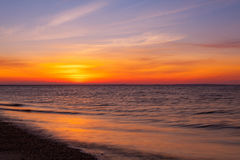 Stunning sunset on the empty beach, Cape Cod, USA Royalty Free Stock Image