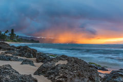 Stunning sunset in Hawaii Stock Photography