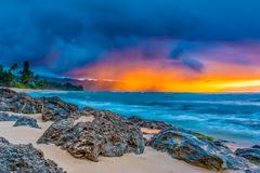 Stunning sunset in Hawaii Stock Images