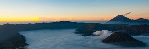 Stunning Sunset and Layer of Mist at volcano Bromo Royalty Free Stock Photos