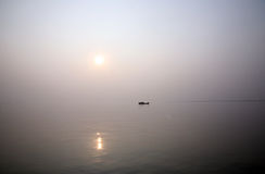Stunning sunset looking over the holiest of rivers in India Royalty Free Stock Photography
