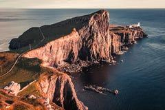 Stunning sunset at the Neist point lighthouse, Scotland, UK. Europe Royalty Free Stock Image