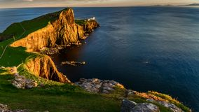 Stunning sunset at Neist point lighthouse, Scotland, United Kingdom, timelapse stock video