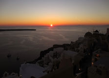 Stunning Sunset at Oia Village, Santorini Island. Of Greece Royalty Free Stock Photography