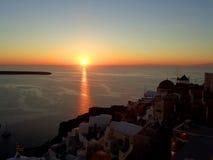 Stunning Sunset at Oia Village of Santorini Island, Greece Stock Photography