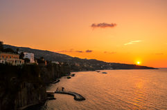 Stunning sunset over the beautiful Sorrento, Italy. Sunset over the beautiful Sorrento, Italy Stock Photos