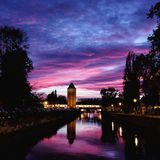 Sunset over Petite France district in Strasbourg, Germany stock image