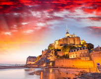 Stunning sunset over Mont Saint Michel, France Royalty Free Stock Photography
