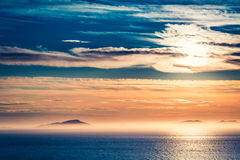 Stunning sunset over sea as background Stock Image