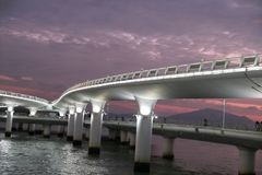 Xiamen Yanwu Sea-Crossing Bridge at Sunset royalty free stock photo