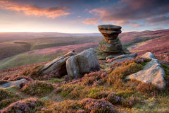 The Salt Cellar on Derwent Edge in the Peak District. Stunning sunset over the Slat Cellar, a weathered rock formation on Derwent Edge high above teh Ladybower stock images