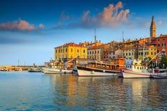 Stunning sunset with Rovinj harbor,Istria region,Croatia,Europe Royalty Free Stock Photography