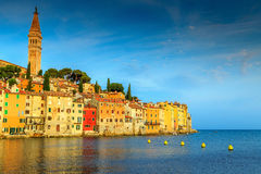 Stunning sunset with Rovinj old town,Istria region,Croatia,Europe Stock Images