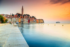 Stunning sunset with Rovinj old town,Istria region,Croatia,Europe Royalty Free Stock Photos