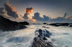 Stunning sunset sunrise  scenery over Pandak Beach located in Terengganu, Malaysia Stock Image