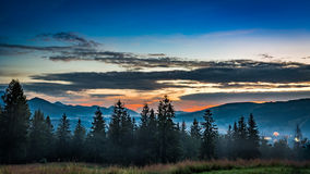 Stunning Sunset in Tatra mountains view from Zakopane Royalty Free Stock Images