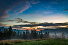 Stunning Sunset in Tatra mountains, Zakopane, Poland Stock Photography