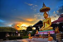 Stunning sunset at Thailand buddhist temple. In Pai town Royalty Free Stock Images