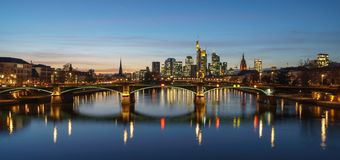 Stunning sunset view of financial skyline in Frankfurt royalty free stock photo