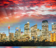 Stunning sunset view of Sydney skyline, Australia Royalty Free Stock Photo